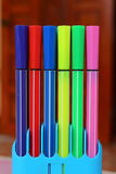 Color pen set. On stand colorful Royalty Free Stock Photos