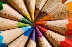 Color pencil. S, circle, macro, close up Stock Photography