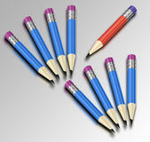 Color pencil. Eight blue and one red pencil Royalty Free Stock Photo