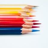 Color pencil. Eleven color pencil on white background Stock Photos