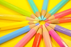 Color Pencil. This is Color Pencil in Yellow background Stock Photography