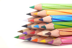 Color Pencil. Close up of Stacking color pencil on white background Stock Image
