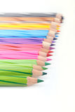 Color Pencil. Close up of a row color pencil on white background Stock Photo