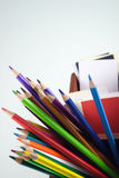 Color pencil. Colored pencils and colored visiting cards in box Royalty Free Stock Photography