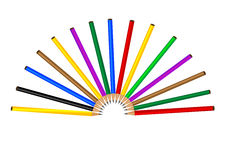 Color pencil. On white background, generated by the computer stock illustration