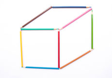 Color pencil as box Royalty Free Stock Image