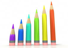 Color pencil bar graph Stock Photo