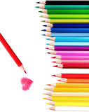 Color pencil. Beautiful set of Color pencil  and Red one paint red Heart ,Love concept, Isolated white background with clipping path Royalty Free Stock Image