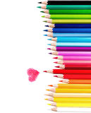 Color pencil. Beautiful set of Color pencil  and Red one paint red Heart ,Love concept, Isolated white background with clipping path Stock Photography
