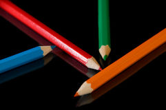 Color pencil on black. Background Stock Photos