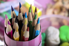 Color Pencil. Close up of color pencils with different color Stock Photography