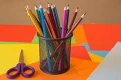 Color pencil on Colored paper. Colored Pencils. Color pencil on Colored paper. Bright colored pencils Stock Photos