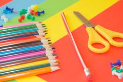 Color pencil on Colored paper. Colored Pencils. Color pencil on Colored paper. Bright colored pencils Stock Photography