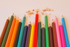 Color pencil on Colored paper. Colored Pencils. Color pencil on Colored paper. Bright colored pencils Stock Photo