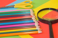 Color pencil on Colored paper. Colored Pencils. Color pencil on Colored paper. Bright colored pencils Stock Images