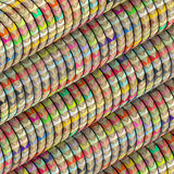 Color pencil composition on roll wave shape Royalty Free Stock Photos