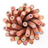 Color Pencil In Cup. A set of color pencil in paper cup holder Royalty Free Stock Photography