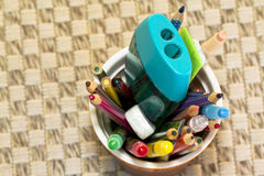 Color pencil cup Stock Images