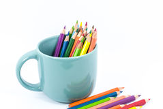 Color pencil in the cup Royalty Free Stock Photos