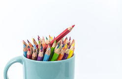 Color pencil in the cup Stock Photography
