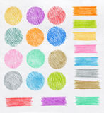 Color pencil design elements Royalty Free Stock Photo