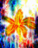Color pencil drawing lily on paper background and Color Abstract background. Fractal effect. Stock Photos