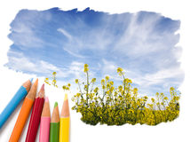 Color pencil drawing open blue sky landscape Stock Photos