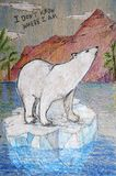 Color pencil drawing of a polar bear on an ice block in water. Color pencil drawing of a polar bear on an ice block among palms and mountains royalty free illustration