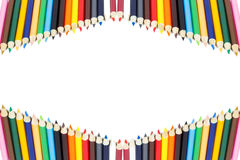 Color pencil frame with white Stock Photos