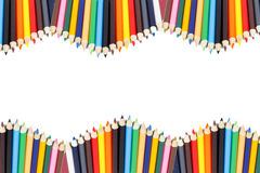 Color pencil frame with white Stock Image