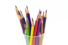 Color pencil in glass. On white background Royalty Free Stock Photo