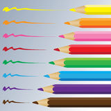 Color pencil on a grey background. Vector Carbon pencil. Royalty Free Stock Image