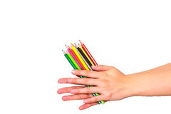 Color pencil on hand Stock Photography