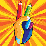 Color pencil hand Stock Photography