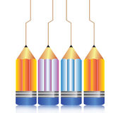Color pencils illustration. An illustration of colorful pencils and drawn lines Stock Photos