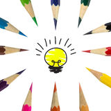 Color pencil and lamp idea Royalty Free Stock Photos