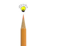 Color pencil  and light bulb on white,concept idea Stock Image