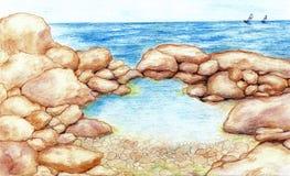 Color pencil marine Royalty Free Stock Photos