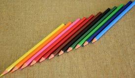 A set of multi-colored pencils designed for children`s creativity. stock photos