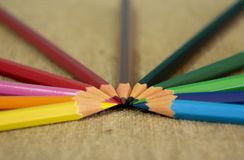 A set of multi-colored pencils designed for children`s creativity. royalty free stock image