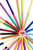 Color pencil. S in arrange in cycle on Isolated white background with clipping path Stock Image