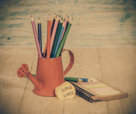 Color pencil in red watering Royalty Free Stock Photos