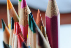 Color pencil in row Royalty Free Stock Photos