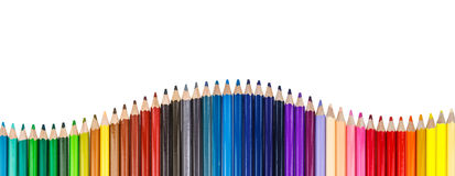 Color pencil in row Stock Images