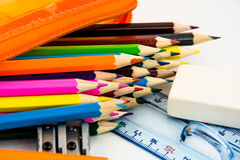 Color pencil for school Royalty Free Stock Photos