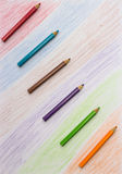Color pencil and Set of color penci Royalty Free Stock Image