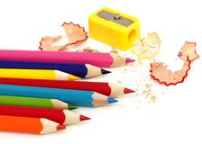 Color pencil and sharpener Stock Photo