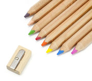 Color pencil and sharpener Stock Image