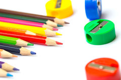 Color pencil with sharpener. Stock Images