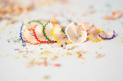 Color pencil shaving Stock Images